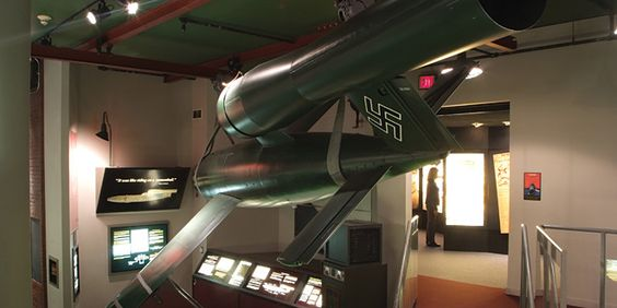 German Gallery  In creating the ultimate weapons of war, Hitler's Germany laid the groundwork for future space travel. Rare V-1 and V-2 rockets highlight this World War II exhibit, demonstrating how V-2 technology made space exploration possible.  V1 Buzz Bomb