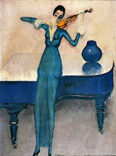 Kees van Dongen, The Violin Player (1920). (Dutch/French, 1877-1968). Oil on canvas. Musee d'art Moderne Liege.