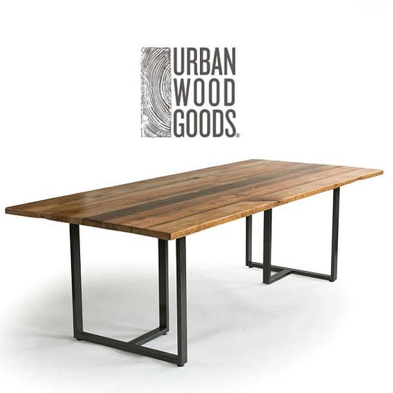 Industrial Modern Wood Table With Reclaimed Wood Table Top
