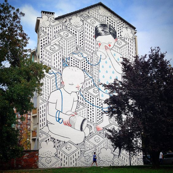 """entrappedspaces: """" """" Italian artist Francesco Camillo Giorgino, known as Millo, paints large-scale murals that feature friendly inhabitants exploring their urban setting. He uses simple black and..."""