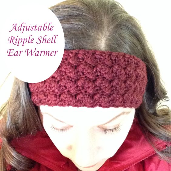 Free Adjustable Crochet Headband Pattern : free pattern ~ adjustable ripple shell ear warmers ...