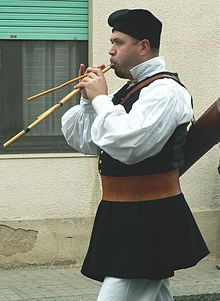 The launeddas (also called triple clarinet or triplepipe) is a typical Sardinian woodwind instrument made of three pipes. It is a polyphonic instrument, with one of the pipes functioning as a drone and the other two playing the melody in thirds and sixths.[1]