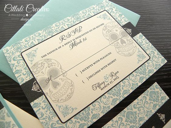 Damask Skull Wedding Invitations in Aqua Blue and Charcoal Gray or