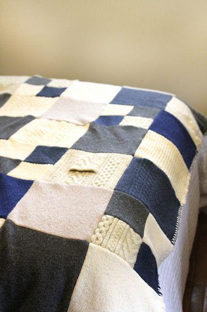Felted Sweater Blanket Diy 15
