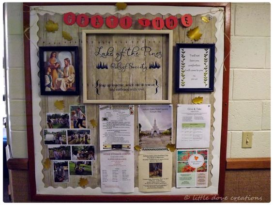 Ideas For Announcement Boards : Little dove creations fall relief society bulletin board