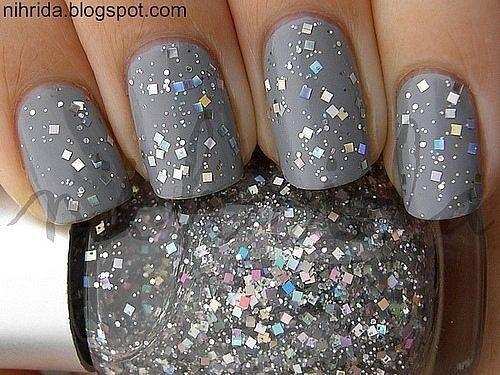 : Silver Glitter Nails, Grey Nails, Glittery Grey, Nail Polish, Glittery Gray, Beauty Nails, Gray Nails, Nail Design