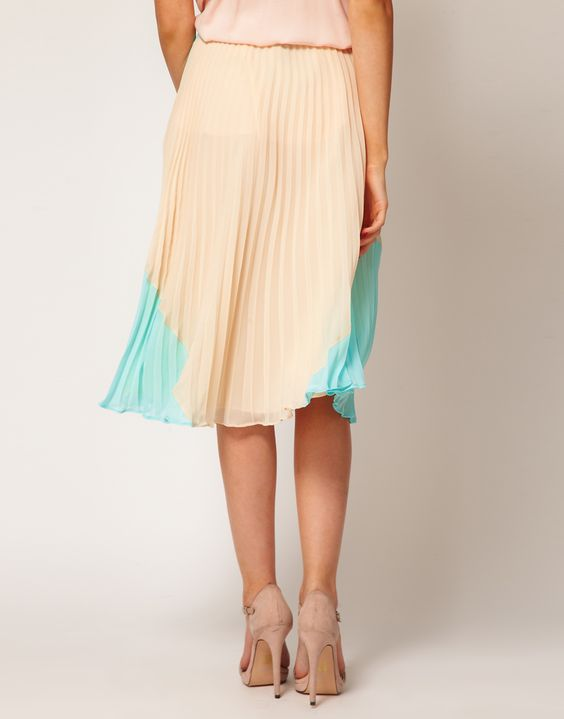 ASOS pleated skirt in colourblock