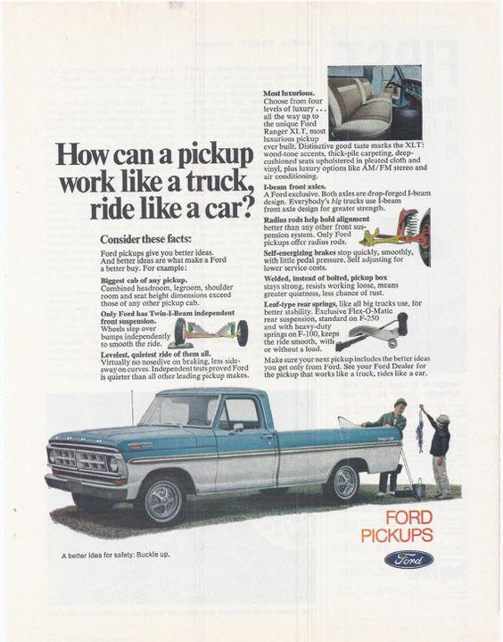 $9.99 Original Magaziene Advert #outdoor #vintage #auto #1970s #advertising #magazine #retro #fashion #style #retro #paper #ephemera #tailgate #USA #roadtrip #etsy #forsale #salesman #collectible #decor #salesman #truck #pickup #ford #blue #fishing