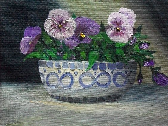 """pansies  oil painting  8"""" x 10"""""""