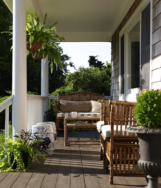 glamorous front porch furniture | porches - wicker furniture white green striped cushions ...