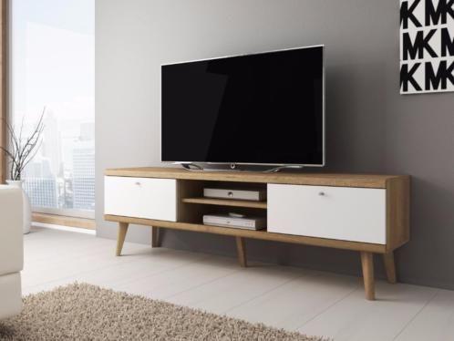 Eiken Kast Tv.Tv Meubel Wit Licht Eiken Schuine Poten Tv Kast 1600