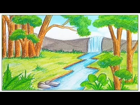 How To Draw Landscape With Oil Pastel Step By Step Very Simple Easy Youtube Easy Nature Drawings Landscape Drawings Drawing Scenery