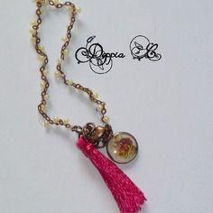 Bracelet à pampille et pompon tons rose et jaune