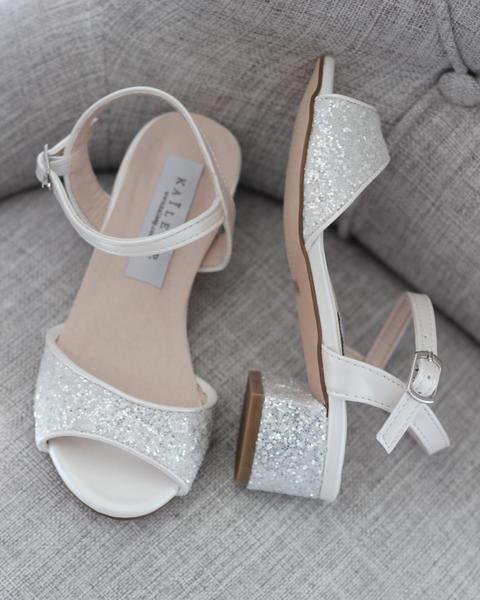 White Rock Glitter Block Heel Sandals In 2020 Sparkly Wedding