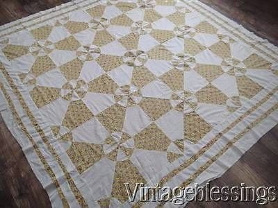 Charming Hearts & Gizzards VINTAGE 30s Yellow Feedsack & White QUILT TOP