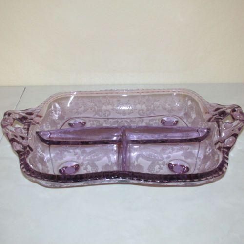 New Martinsville Dark Sun Purple Etch Prelude 3 Part Handled Footed Divided Dish New Martinsville Purple Purple Glass