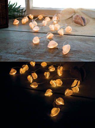 Seashell String Lights Outdoor : Seashells, String lights and Lights on Pinterest