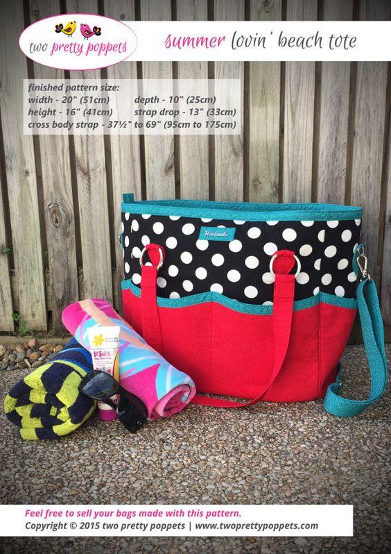 Tote bag pattern Summer Lovin' Beach Tote by twoprettypoppets