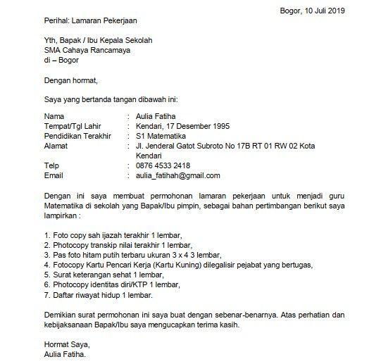 5 Contoh Surat Lamaran Kerja Guru Sma Atas Inisiatif Sendiri Kepala Sekolah Apoteker Guru