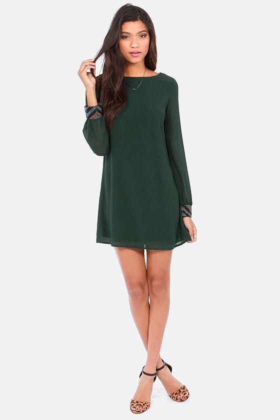Bead Reputation Dark Green Shift Dress  Pinterest  Sleeve Long ...
