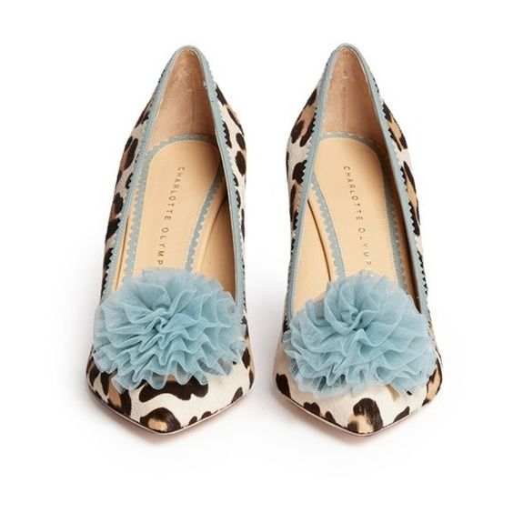 Charlotte Olympia 'Desirée' leopard print calf hair pumps (103420 RSD) ❤ liked on Polyvore featuring shoes, pumps, heels, blue pumps, heel pump, blue heel pumps, leopard pumps and leopard print shoes