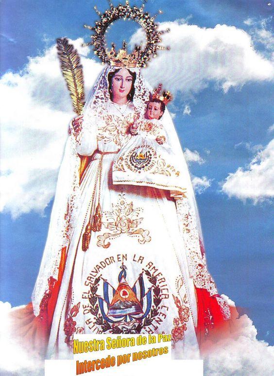 En El Salvador, en la iglesia de San Miguel, se venera la imagen de Nuestra Señora de la Paz. La Virgen tiene en su brazo izquierdo al Niño Jesús y en el ...
