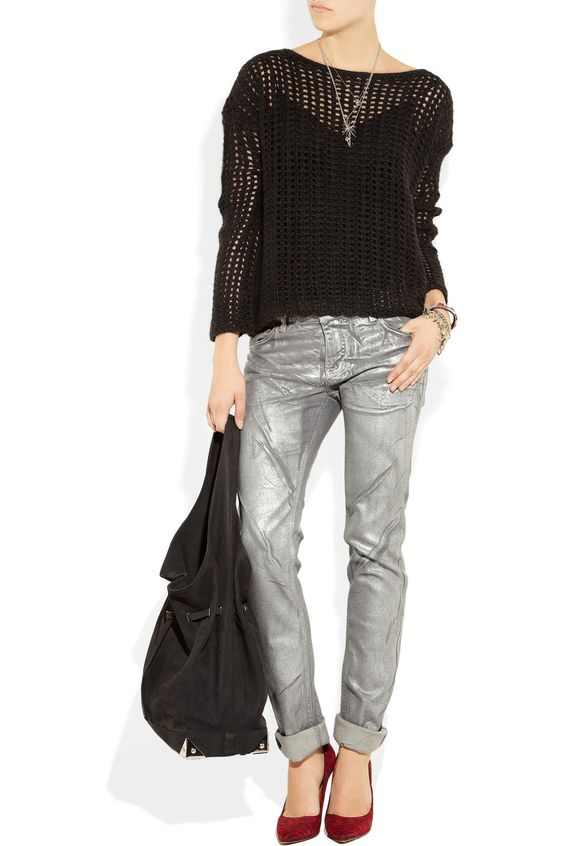 silver colored jeans - Jean Yu Beauty