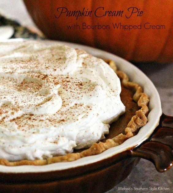 Pumpkin Cream Pie With Bourbon Whipped Cream   Recipe   Pinterest ...
