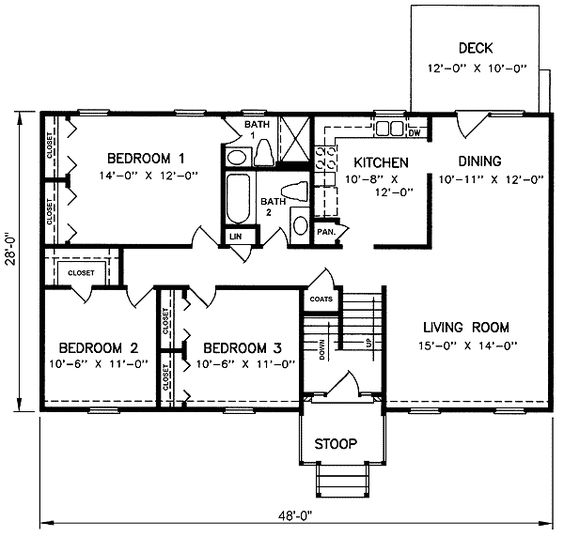 1970s split level house plans split level house plan for Standard 3 bedroom house plans