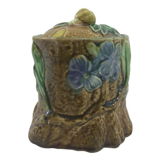 French 19th Century Tobacco Jar With Floral Design and Snail