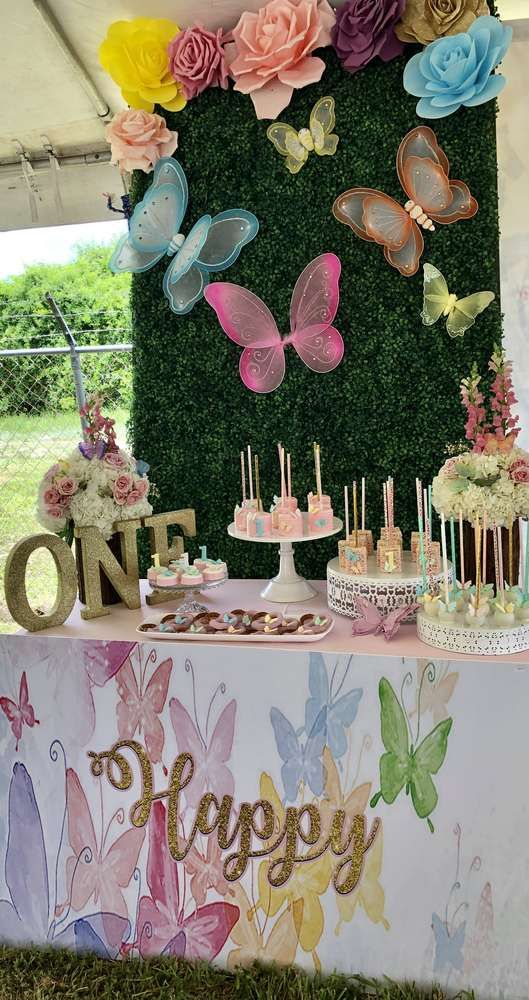 Butterflies Birthday Party Ideas Photo 3 Of 40 Garden Party Birthday Butterfly Birthday Party Decorations 1st Birthday Party For Girls