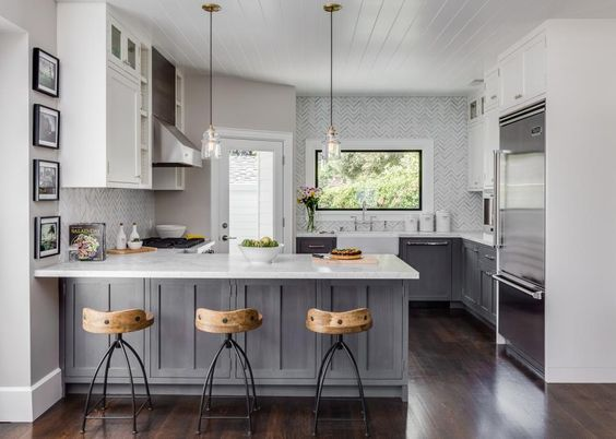 Small Home With Big Style | Chevron tile, Small kitchens and Cabinets