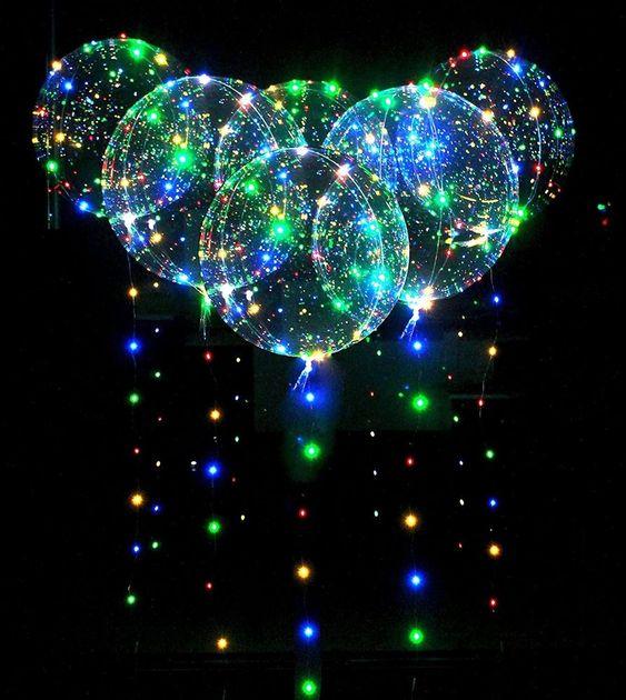 (18inch) - 6pcs Led 46cm Bobo Balloon Flashing Lights for Birthday Wedding