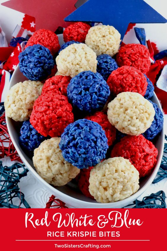Red White and Blue Rice Krispie Bites - This is a 4th of July dessert that is easy to make and even yummier to eat.  These colorful and festive 4th of July Treats are yummy, bite-sized balls of crunchy, marshmallow-y delight.   Pin this fun Patriotic snack for later and follow us for more fun 4th of July Food Ideas.
