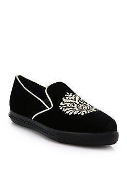 Miu Miu - Embroidered-Crest Velvet Skate Sneakers
