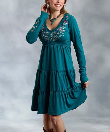 Roper Green Embroidered Peasant Dress - Women &amp- Plus - Stylists ...
