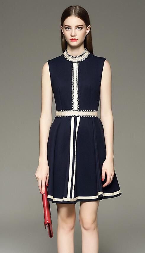 Elegant Splicing Sleeveless Dress