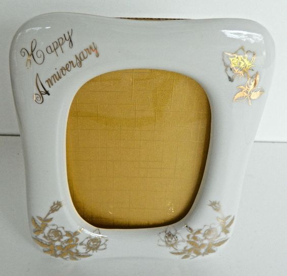 """Royal Crown Happy Anniversary Porcelain Picture Frame holds 3x5"""" picture EUC"""