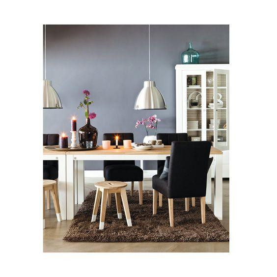 Eettafel Duo; eiken blad & geborsteld wit grenen onderstel - 150