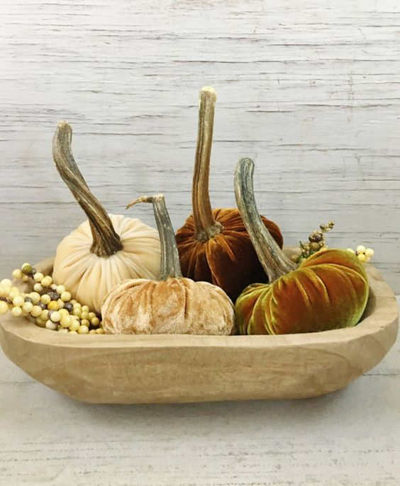 Velvet Pumpkins-Autumn Spice-Set of Four