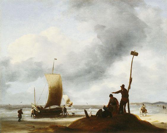 Ludolf Bakhuysen - Strand met vissersschepen