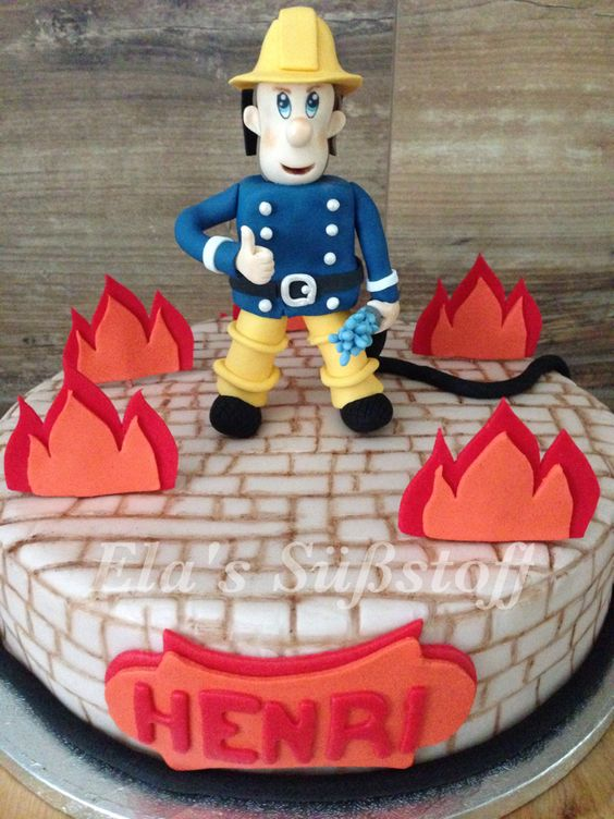 Feuerwehrmann Sam Cake #Cakedesign # Motivtorten # Torten # Cake