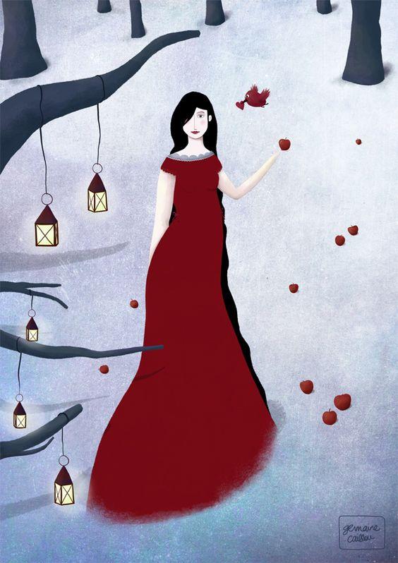Mulher, solidão, vestido vermelho, frio.