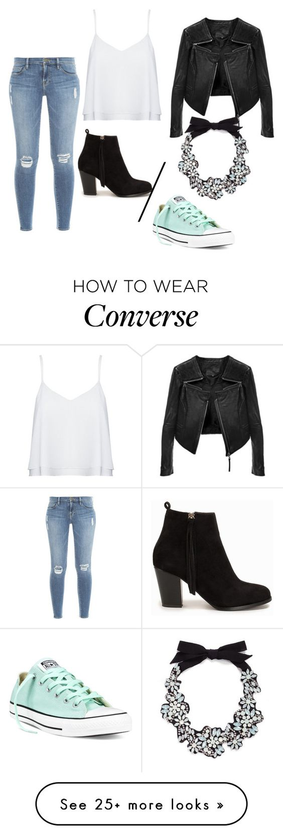 """Untitled #339"" by tanya8500 on Polyvore featuring Alice + Olivia, Linea Pelle, Frame Denim, J.Crew, Nly Shoes and Converse"