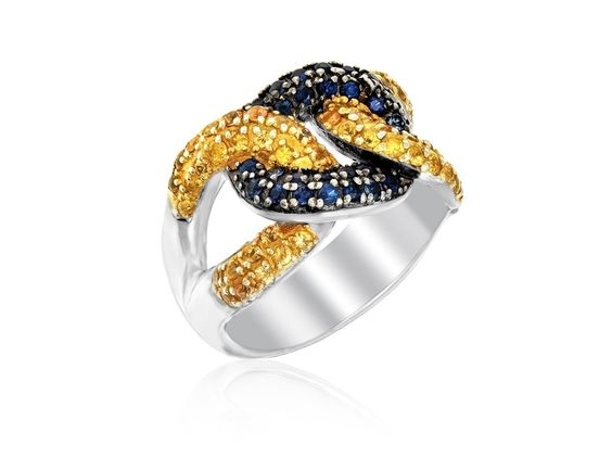 Yellow and Blue Sapphire Knot Ring in Sterling Sil