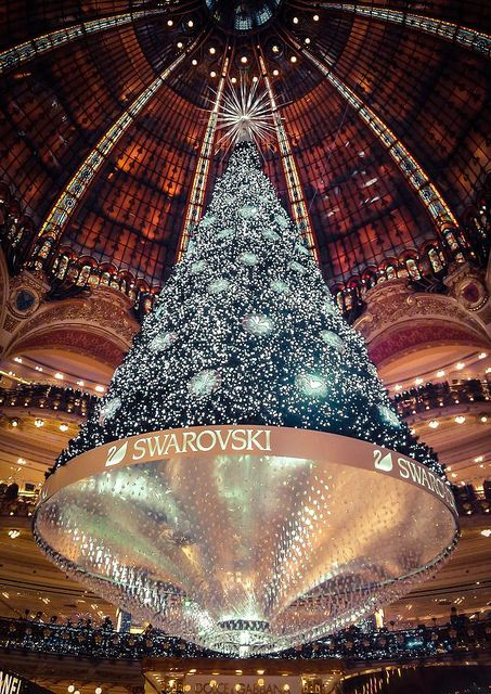 Image result for swarovski christmas tree in Galeries Lafayette