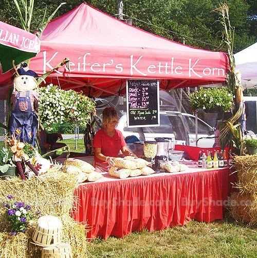 Street fair tent keifer 39 s kettle korn vendor booth derby fair pinterest search vendor - Food booth ideas ...