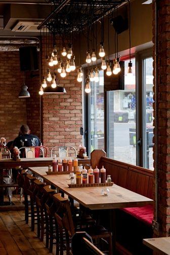 Restaurant Interior . Brick Walls . Light Bulbs . Rustic