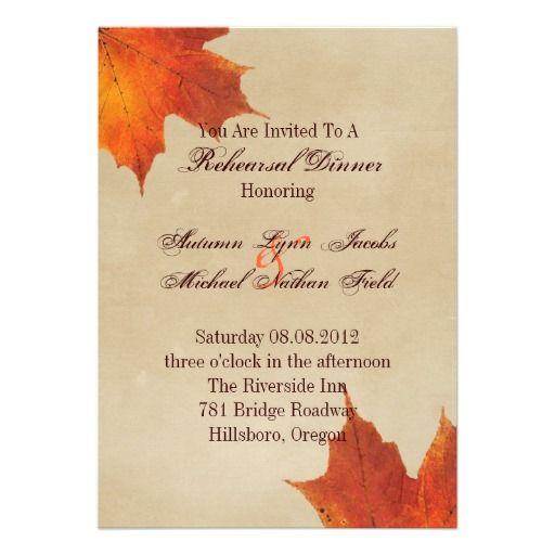 Elegant Red Maple Leaves Fall rehearsal dinner Custom Invitation