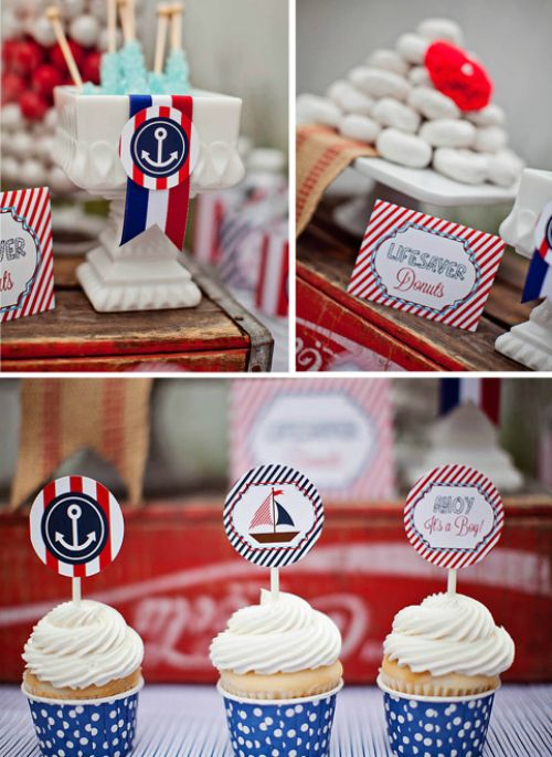 "Powered donuts as ""lifesavers"" in this nautical-themed baby shower - genius! #babyshower #partyfood #nautical:"